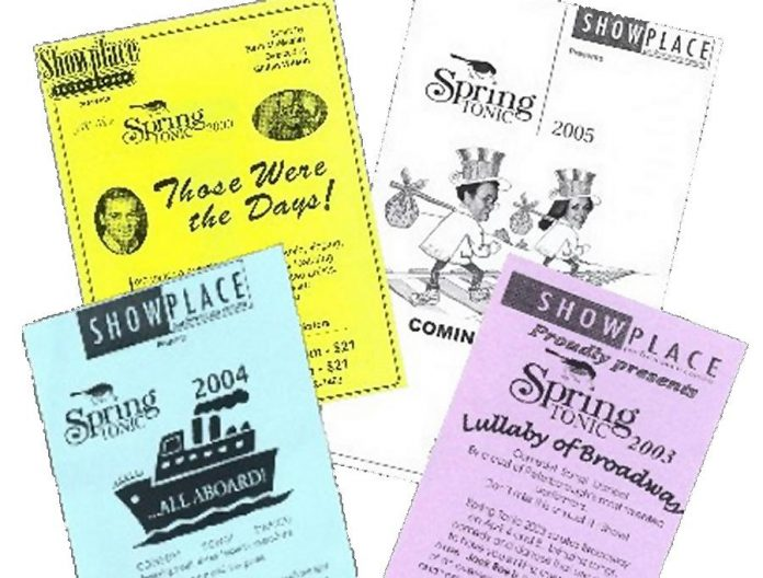 A few flyers from past Spring Tonic performances at Showplace Performance Centre. (Image courtesy of Stuart McMaster)