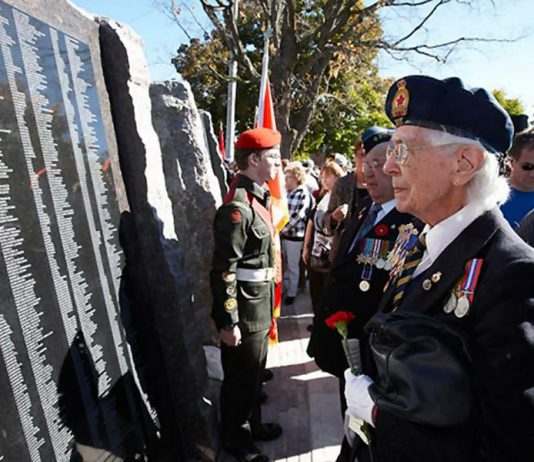 For the first and only time, the City of Peterborough will be updating the Veterans Wall of Honour at Confederation Square to add the names of veterans who were missing from lists when the wall was originally installed in October 2010. (Photo: City of Peterborough)