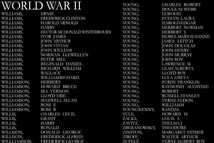 A few of the 10,382 names of local veterans who served with the Canadian forces in the First and Second World Wars and the Korean War currently listed on the Veterans Wall of Honour.  (Photo: City of Peterborough)