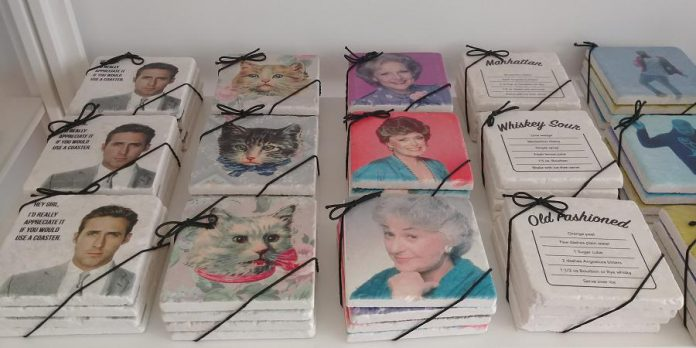 If you poke around the store, you'll discover tons of cool stuff, like these coasters. The Golden Girls coasters seen here are one of Watson & Lou's biggest sellers. (Photo: Watson & Lou)