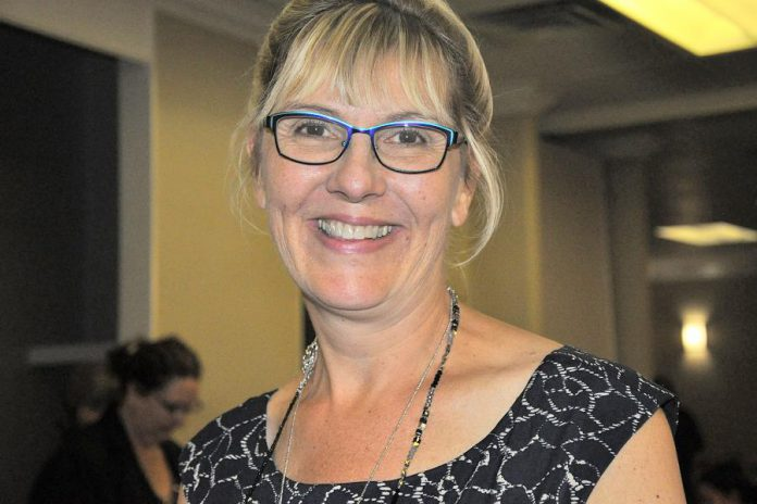 "Leslie Bradford-Scott, co-founder of Walton Wood Farm, told her life story at the October 4, 2017 meeting of the Women's Business Network of Peterborough in a presentation called ""The Garden That Grew Her"". (Photo: Jeanne Pengelly / kawarthaNOW.com)"