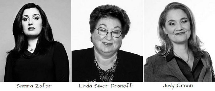 Speakers for the 2018 conference are Samra Zafar (human rights activist, scholar, author, and social entrepreneur), Linda Silver Dranoff (lawyer, author, and activist), and Judy Croon (comedian, motivational speaker, radio host, Second City standup coach, and author).