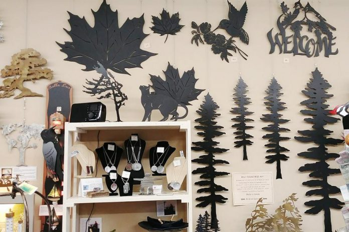 """The store's indoor and outdoor wall art are also top sellers. """"No one else in the area has as much Canadian-made outdoor wall art,"""" Brenda says of her extensive collection that is sourced from artists in British Columbia and Ontario. (Photo: Paula Keho"""