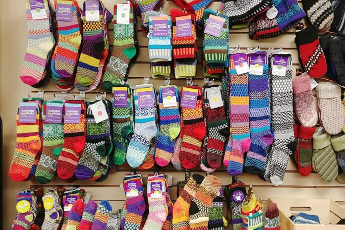 Another hit with customers is the wall of Happy Socks which are knit from recycled cotton and come in a variety of vibrant colours and patterns. The socks are a unique gift for men and women that's sure to show the vibrant fun side of the wearer. (Photo: Paula Kehoe)