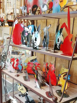 If you're looking for humorous art, The Avant-Garden Shop carries unique collections like this one by Uxbridge artists, Jean Pierre Schoss and Brenda Tucker. They create animal forms and nature images from recycled propane, water and oil tanks. (Photo: Paula Kehoe)