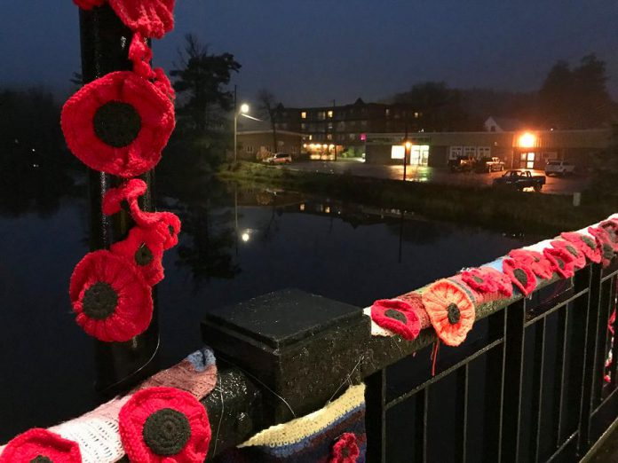 A close up some of the hand-crafted poppies, which will remain on display on the bridge until Monday, November 13, 2017. (Photo: Hospice North Hastings / Facebook)