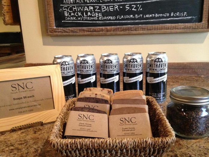 "Sherrie Le Masurier's ""Soap Haven Beer"", on display at Smithhavens Brewing Company, is made from beer and grains from the brewery. (Photo: Sherrie Le Masurier / Facebook)"