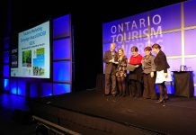 Representatives from Peterborough & the Kawarthas Tourism accepting the Tourism Marketing Campaign Award Under $50K at the Ontario Tourism Awards of Excellence Gala. (Photo: Ontario Tourism Summit / Twitter)