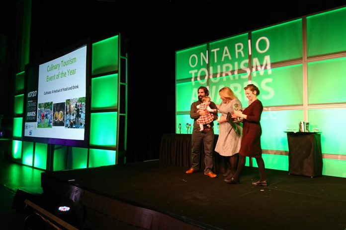 Representatives from Cultivate: A Festival of Food and Drink in Port Hope accepting the Ontario Culinary Tourism Event of the Year award. (Photo: Ontario Tourism Summit / Twitter)