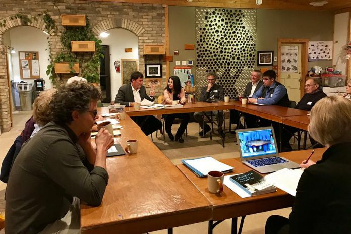 Minister Dominic LeBlanc and Maryam Monsef MP Peterborough-Kawartha (centre) met with representatives from local conservation organizations, researchers, and more on November 23, 2017. (Photo: Office of Maryam Monsef)