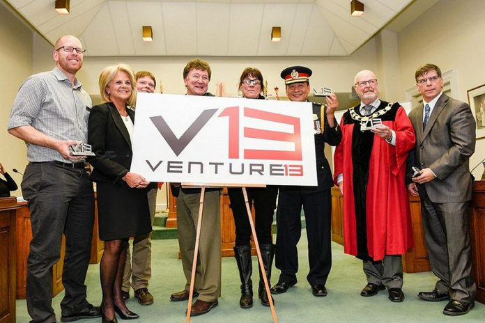 Venture13 partners reveal the new logo for the planned business accelerator with Town of Cobourg Mayor Gil Brocanier on November 22, 2017. (Photo: CNW Group/Town of Cobourg)