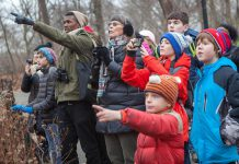 From December 14 through January 5 each year, tens of thousands of volunteers throughout the Americas take part in the Christmas Bird Count. Wildlife organizations use data collected in this long-running census to assess the health of bird populations and to help guide conservation action. In the Kawarthas, there are counts taking place in Peterborough, Kawartha Lakes, Northumberland, and Hastings. (Photo: Camilla Cerea / Audubon)