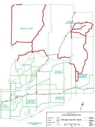 The proposed new sign by-law would affect the entire county, but is intended to address the problem of commercial signs along bush country roads in the Municipality of Trent Lakes, the Township of North Kawartha, and the Township of Havelock-Belmont-Methuen. (Map: Peterborough County)