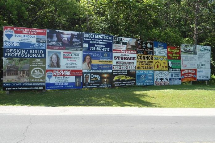 """Commercial signs in """"Bush Country"""". (Photo: Peterborough County)"""