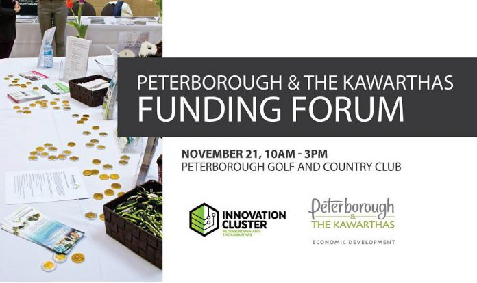 The Peterborough & the Kawarthas Funding Forum takes place from 10 a.m. to 3 p.m. on Tuesday, November 21st at the Peterborough Golf and Country Club. The event is free.  (Graphic:  Innovation Cluster / Peterborough & the Kawarthas Economic Development)