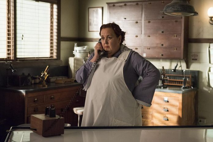 "Host Sharron Matthews is currently starring as Flo, an enthusiastic morgue attendant, in the CBC TV original series ""Frankie Drake Mysteries"". (Photo: CBC)"