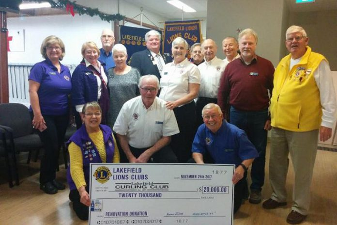 The Lakefield & District Lions Club has donated $20,000 to the Lakefield Curling Club to support the club's Sunday Junior Curling Program for 10 years beginning in the 2018 curling season.