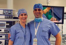 Dr. Joslin Cheverie and Dr. Jacob Hassan, two of the minimally invasive surgeons at Peterborough Regional Health Centre, thank donors for supporting surgical innovation at the hospital. (Photo: PRHC Foundation)