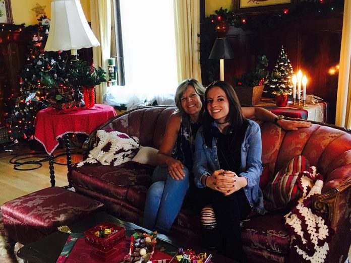 """Carley's parents have been supportive of her career as a full-time writer. Carley's mom Wendy joined her on the set of """"Snowed-Inn Christmas"""" during filming in Winnipeg in September. (Photo courtesy of Carley Smale)"""