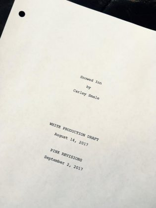 """Carley's script for """"Snowed Inn"""", which will be screened under the title """"Snowed-Inn Christmas"""". (Photo courtesy of Carley Smale)"""