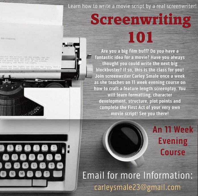 Carley is teaching a 11-week screenwriting course beginning in January. (Graphic courtesy of Carley Smale)