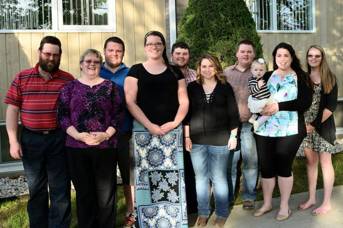 The Stockdales of Embrdale Farm in Asphodel-Norwood are the 2017 Farm Family of the Year. Pictured from left to right: David and Cathy, Steven and Kelsey, Cameron and Emily, Brett and Erin with Kaylee, and Rebecca. (Photo courtesy of Greater Peterborough Chamber of Commerce)