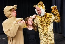 "Aidan Wilson as Baloo, Asha Hall-Smith as Mowgli, and Dan Smith as Shere Khan in Arbor Theatre's upcoming holiday production of ""The Jungle Book"" at Showplace Performance Centre in downtown Peterborough on December 7th and 8th. (Photo: Arbor Theatre)"