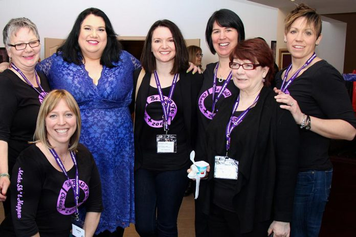 Louise Racine (left) with CBC radio host Candy Palmater, the keynote speaker at the inaugural International Women's Day conference in March 2017, and members of the International Women's Day organizing committee. (Photo: Jeannine Taylor / kawarthaNOW.com)