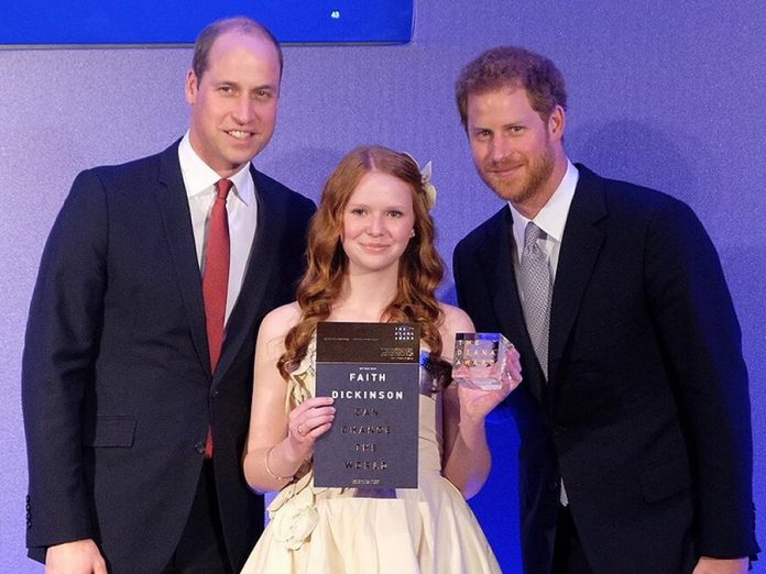 """Peterborough's Faith Dickinson received the Diana Award, presented by Prince William and Prince Harry, for her """"Cuddles for Cancer"""" charity. (Photo: Kensington Palace)"""