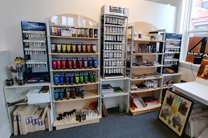 If you need art supplies, META4 carries a wide selection of artist quality acrylics, oils, watercolours, mediums, paper (including individual sheets), inks, brushes, graphite, coloured pencils, conte, charcoal, art markers, palette knives, easels, varnish, stretched canvas, wood supports, and much more. (Photo: Paula Kehoe / kawarthaNOW.com)