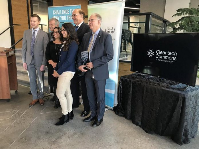 Adam Noble of Noblegen, Trent University President Leo Groarke, Peterborough Mayor Daryl Bennett, and others at the launch of Cleantech Commons at Trent University. (Photo:  Daryl Bennett / Twitter)
