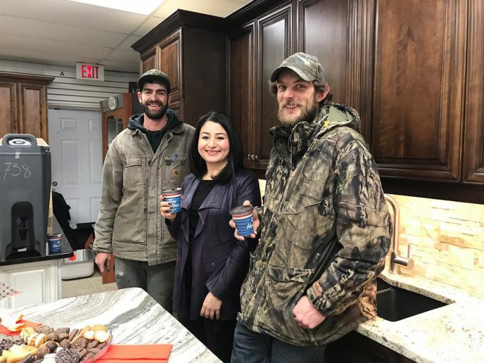 Peterborough-Kawartha MP Maryam Monsef with Troy and Douglas of Gus's Kitchen and Bath, one of six Peterborough-based businesses receiving an investment from Northumberland Community Futures Development Corporation. The family business, which offers kitchen and bath finishes and fixtures, will use the investment to purchase granite-cutting equipment. (Photo: Office of Maryam Monsef)