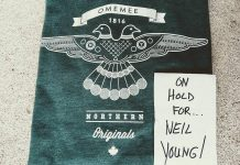 When Neil Young was in Omemee on Friday, Bobcaygeon apparel company Douglas + Son referred his team to PTBO Northern Originals, which provided a couple of Omemee t-shirts for Neil and his partner Daryl Hannah. (Photo: PTBO Northern Originals)