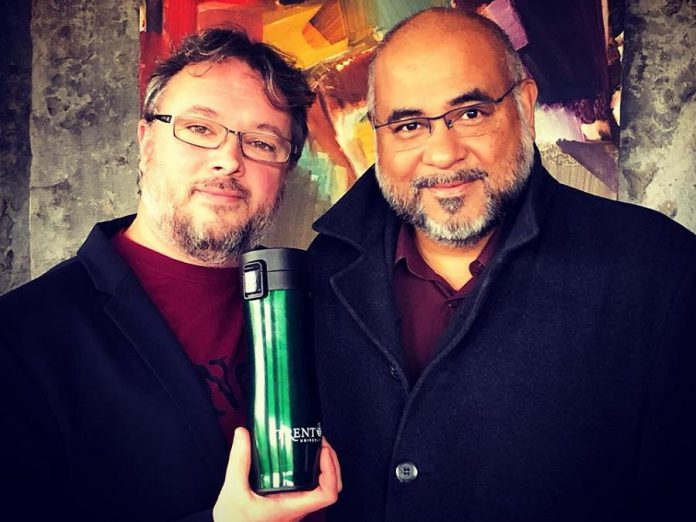 Donald Fraser of Trent University Alumni Affairs with the Prolong Travel Mug and its inventor, Dr. Suresh Narine, Director of the Trent Centre for Biomaterials Research and Professor of Physics & Astronomy and Chemistry at Trent University. (Photo courtesy of Donald Fraser)