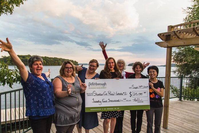 The grant recipients for the previous round of the Starter Company Plus program, announced at Elmhirst's Resort in September 2017:  Maureen Brand of Garden of Eden, Sarah Susnar of Play Cafe, Leah Frampton of Green Leaf Baby, Lynn Franscio of Elixir, Jane Davidson of Best Write Communications, Lisa Torres of Access Homeopathy, and Claudia Foung of iMake iMove. Peterborough & the Kawarthas Economic Development will be announcing the latest round of grant recipients from the Starter Company Plus program on December 6, 2017.  (Photo: Tyler Wilson)