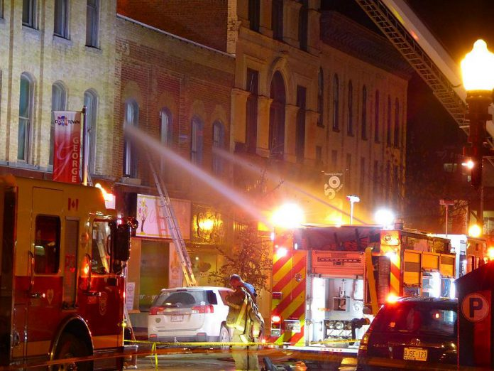 A November 16th fire on George Street in downtown Peterborough closed three businesses: Simple, Ash Nayler Photography, and Natas Cafe. (Photo: Laurel Paluck)