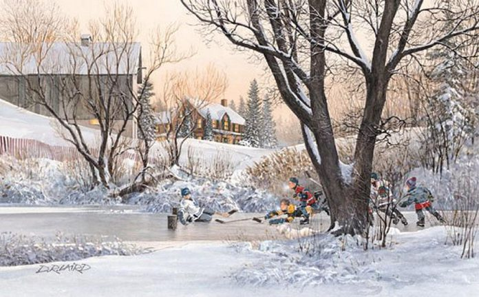 Camp Kawartha's Annual General Meeting  features a silent auction in support of the not-for-profit organization's capital campaign, with items including this print signed by famed hockey artist D.A. Laird and NHLers Mike Murphy, Jim Gregory, Colin Campbell, and Kris King. (Photo courtesy of Camp Kawartha)