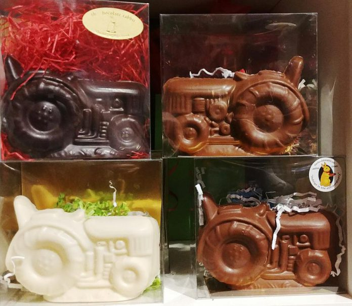 During the holidays, novelty-themed chocolates like this chocolate tractor (avaiable in dark, milk, and white chocoloate) are becoming more popular than the typical chocolate Santa. (Photo: Paula Kehoe / kawarthaNOW.com)