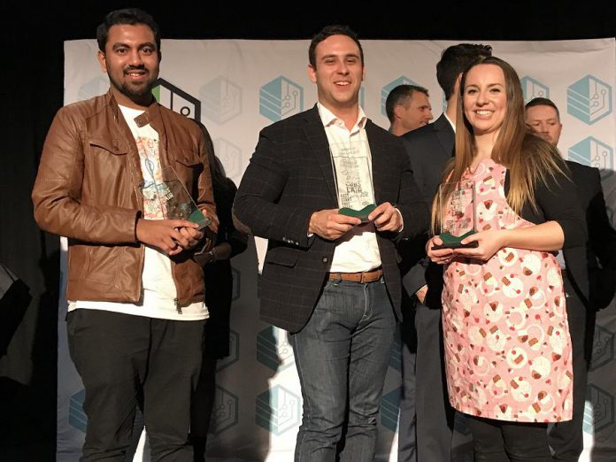 Rich Cochrane of Status Exempt (centre) accepting his award with runners-up Sultan Moni of Zatiq (left) and Victoria Naish of The Cake Engineer. (Photo: Innovation Cluster)