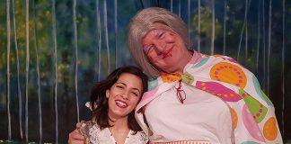 """Toronto-based actor Katherine Cappellacci performs as Snow White with Globus artistic director James Barrett as Dame Wobbly Bothem in """"Snow White and the Seven Dwarfs"""", a traditional British pantomine for the entire family at Globus Theatre at Lakeview Arts Barn in Bobcaygeon with seven performances from December 9 to 17. (Photo: Sarah Quick)"""