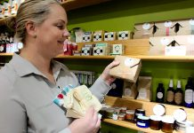 GreenUP Environmental Educator Danica Jarvis recommends selecting gifts with minimal and recyclable packaging, such as the locally made Free To Be natural soap, and reusable gift wrapping options such as natural cotton CredoBags and festive printed fabric gift bags. Many of the products featured at the GreenUP Store promote a more sustainable lifestyle by offering reusable alternatives to single use items. (Photo: GreenUP)