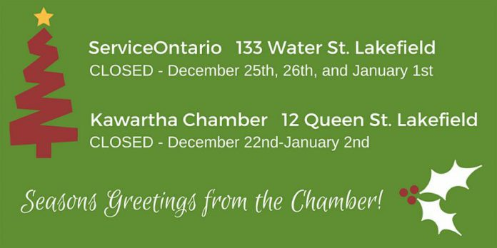 Chamber and ServiceOntario holiday hours