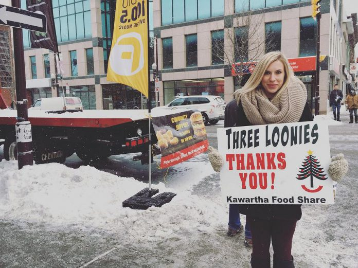 You can also help Kawartha Food Share by donating to the 2017 Three Loonies on the Street fundraiser, which takes place on Friday, December 15 from 7 to 10 a.m. at the corner of King and George Streets in downtown Peterborough. (Photo: Kawartha Food Share)