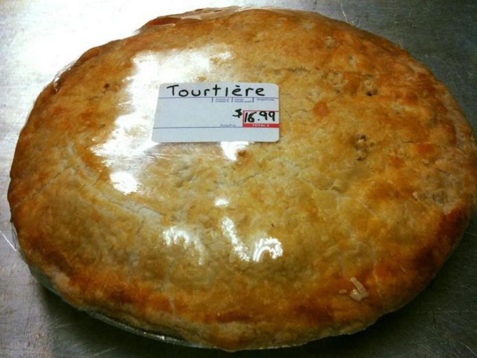 The Bridgenorth Deli's tourtière, made with pastry from The Kawartha Butter Tart Factory, is big enought to feed a family of five. (Photo: The Bridgenorth Deli / Facebook)