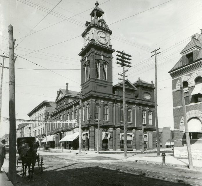 Market Hall was originally built for the City of Peterborough's farmers' market to replace the much smaller market that had been operating  since construction of Peterborough's first town hall (1851) on Water Street. Mayor James Stevenson laid the cornerstone of the Market Hall in the fall of 1889 and it officially opened in 1890.