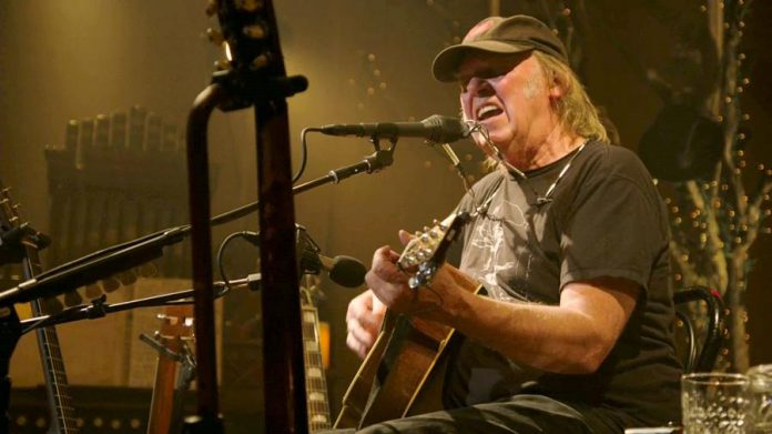 Screen capture of live stream of Neil Young concert from Omemee on December 1, 2017
