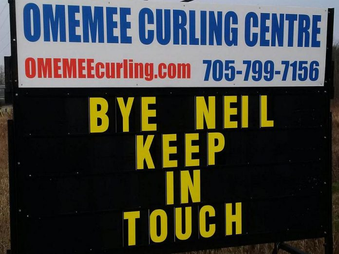 The Omemee Curling Centre, which was one of the local viewing locations for the live stream, thanks Neil for coming home. (Reader supplied photo)