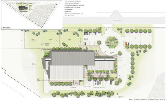 The site plan for the new Peterborough Humane Society building includes private and public outdoor dog enclosures, a drop-off zone, and ample parking.  Download a PDF version of the site plan for more detail. (Illustration: LETT Architects Inc.)