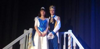 Grace De Mara as Cinderella and Dylan Macdonald as Prince Topher in Thomas A. Stewart Musical Theatre Program's production of Rodgers and Hammerstein's Cinderella, running from Thursday, December 14 to Saturday, December 16 at the Thomas A. Stewart Secondary School auditorium in Peterborough. (Photo: Sam Tweedle / kawarthaNOW.com)