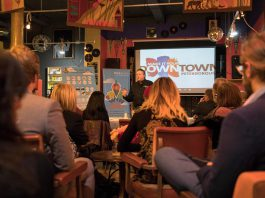 Terry Guiel, Executive Director of the Peterborough Downtown Business Improvement Area (DBIA), at Catalina's in downtown Peterborough on November 30 where judges and sponsors reviewed video applications for the Win This Space competition and selected the top 10 finalists. (Photo: DBIA)